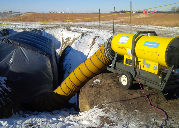 Industrial heater for onsite excavation